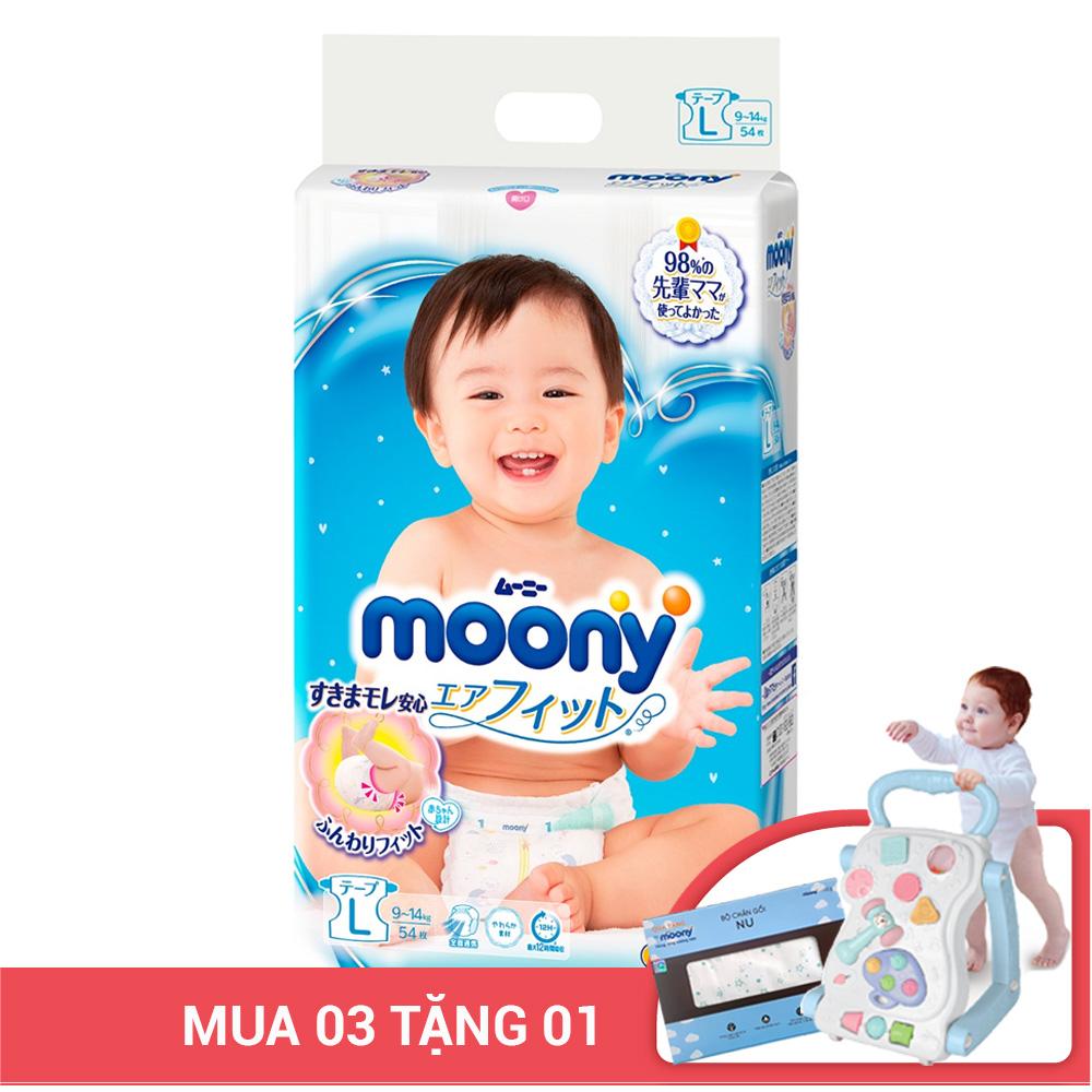 Bỉm - Tã dán Moony size L 54 miếng