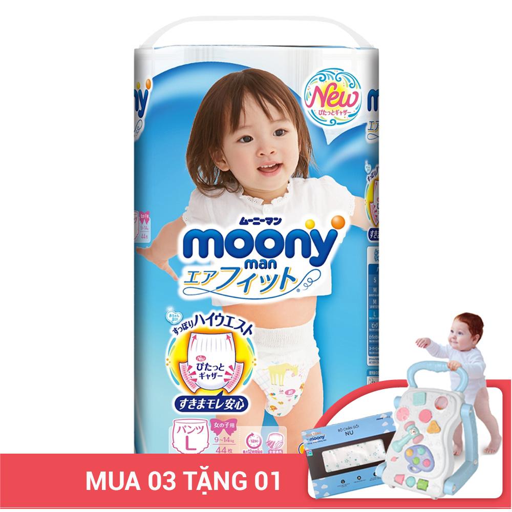 Bỉm - Tã quần Moony man size L bé gái 44 miếng