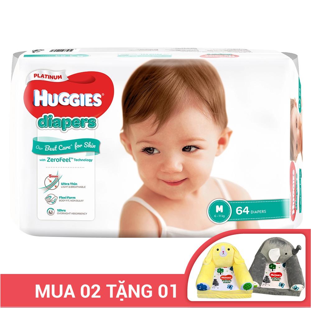 Bỉm - Tã dán Huggies Platinum siêu cao cấp size M - 64 miếng (Cho bé 6 - 11kg)