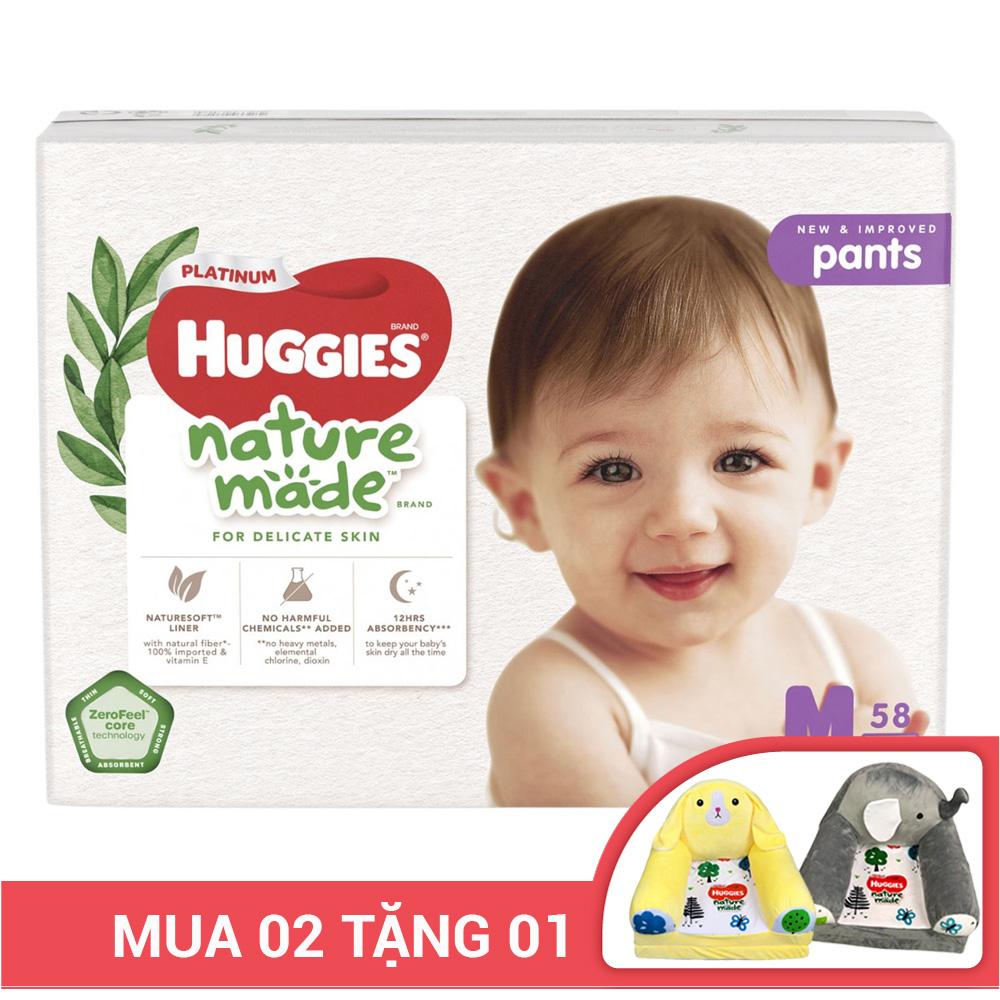 Bỉm - Tã quần Huggies Platinum Naturemade size M 58 miếng (Cho bé 6 - 11kg)