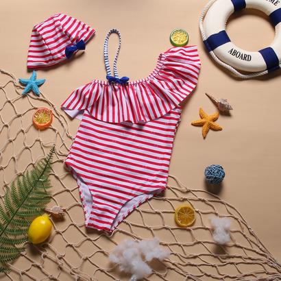Bộ bơi liền thân bé gái kẻ đỏ KT201901