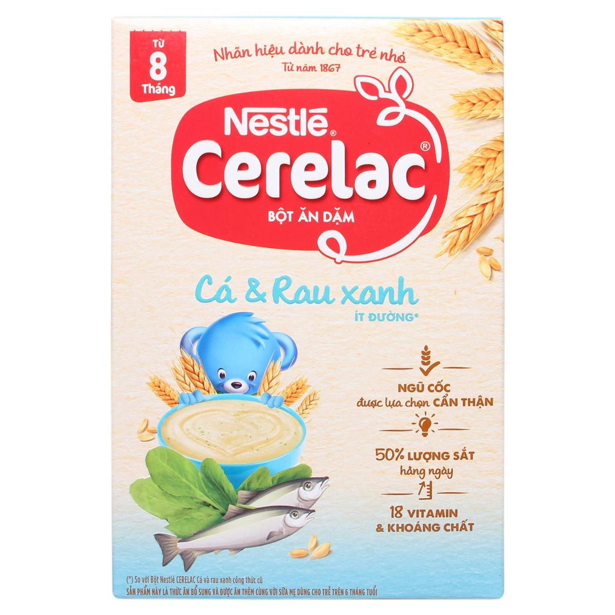 Bột ăn dặm Nestlé Cerelac cá và rau xanh 200g (8 - 24 tháng)