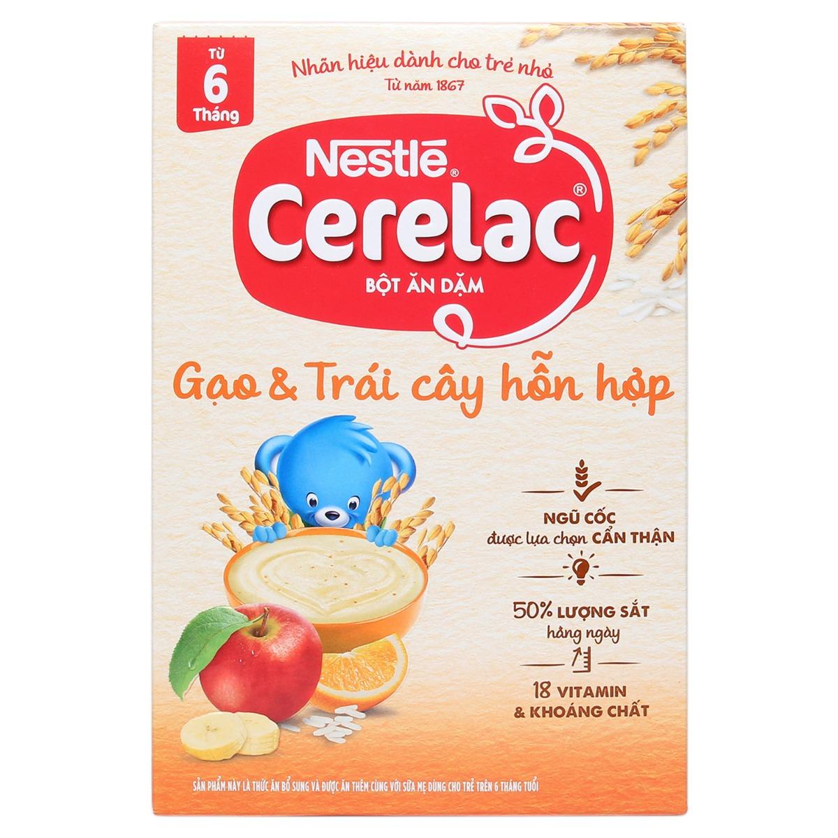 Bột ăn dặm Nestle Cerelac gạo và trái cây hỗn hợp 200g (6 - 24 tháng)