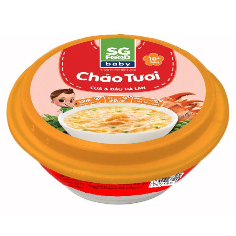 Cháo tươi Sài Gòn Food Baby vị cua và đậu Hà Lan 240g (Trên 10 tháng)