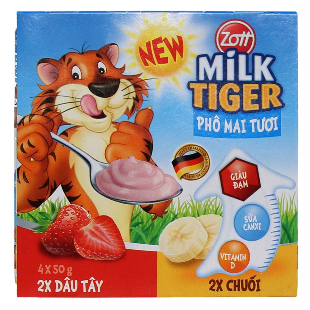 Phô mai tươi Zott Milk Tiger hương dâu - chuối (1 hộp)