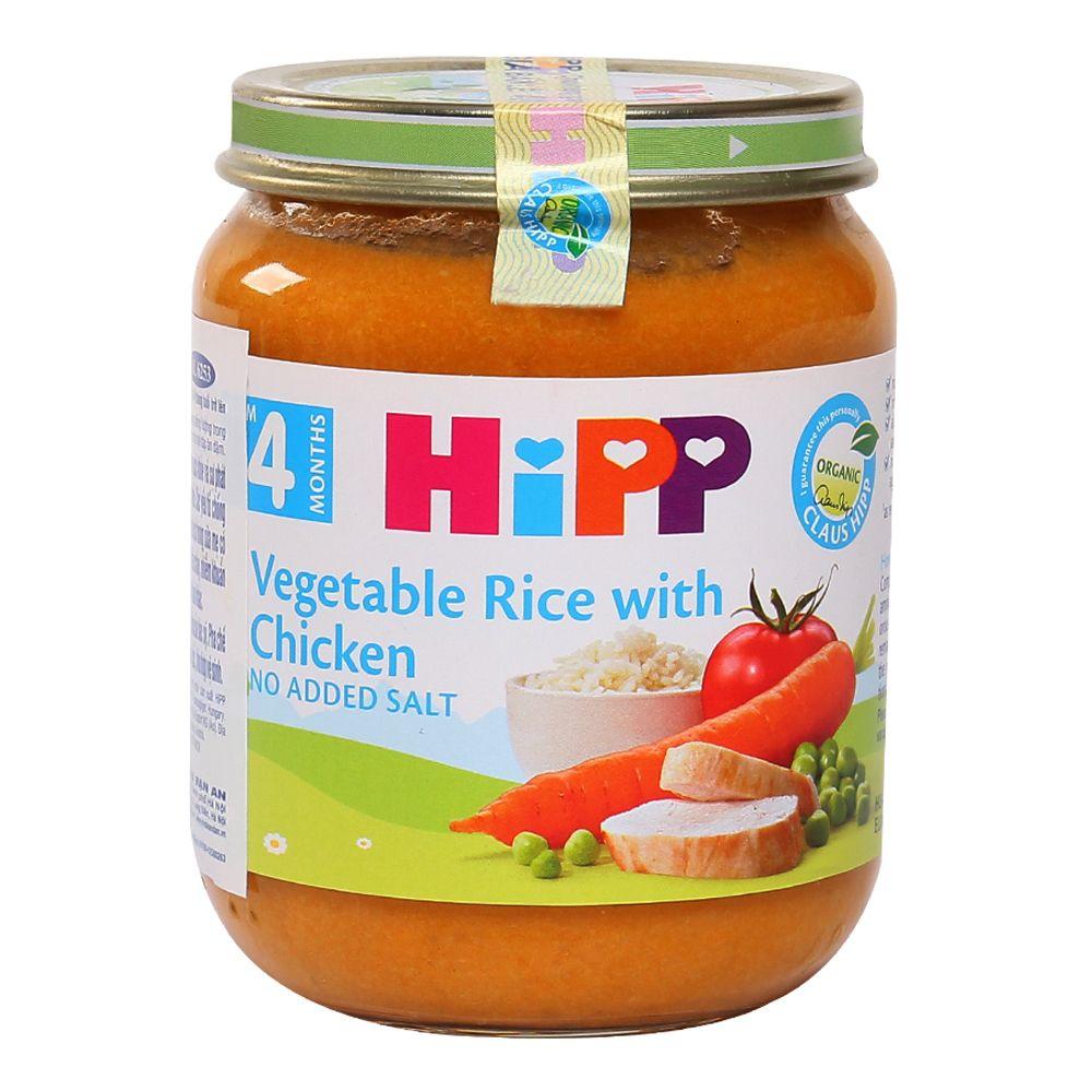 Dinh dưỡng đóng lọ HiPP thịt gà, cơm nhuyễn, rau tổng hợp 4M (Trên 4 tháng)