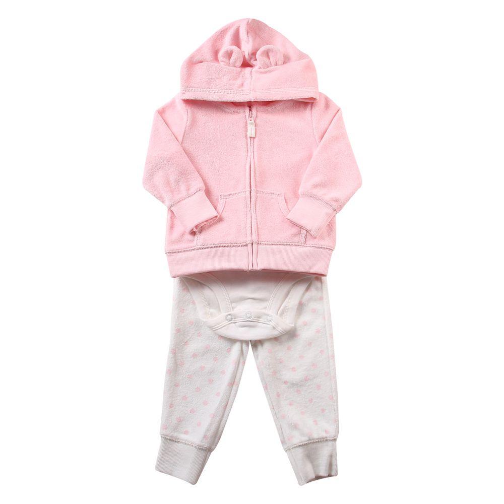 Set 3 chi tiết body, quần legging và áo khoác hồng TS05