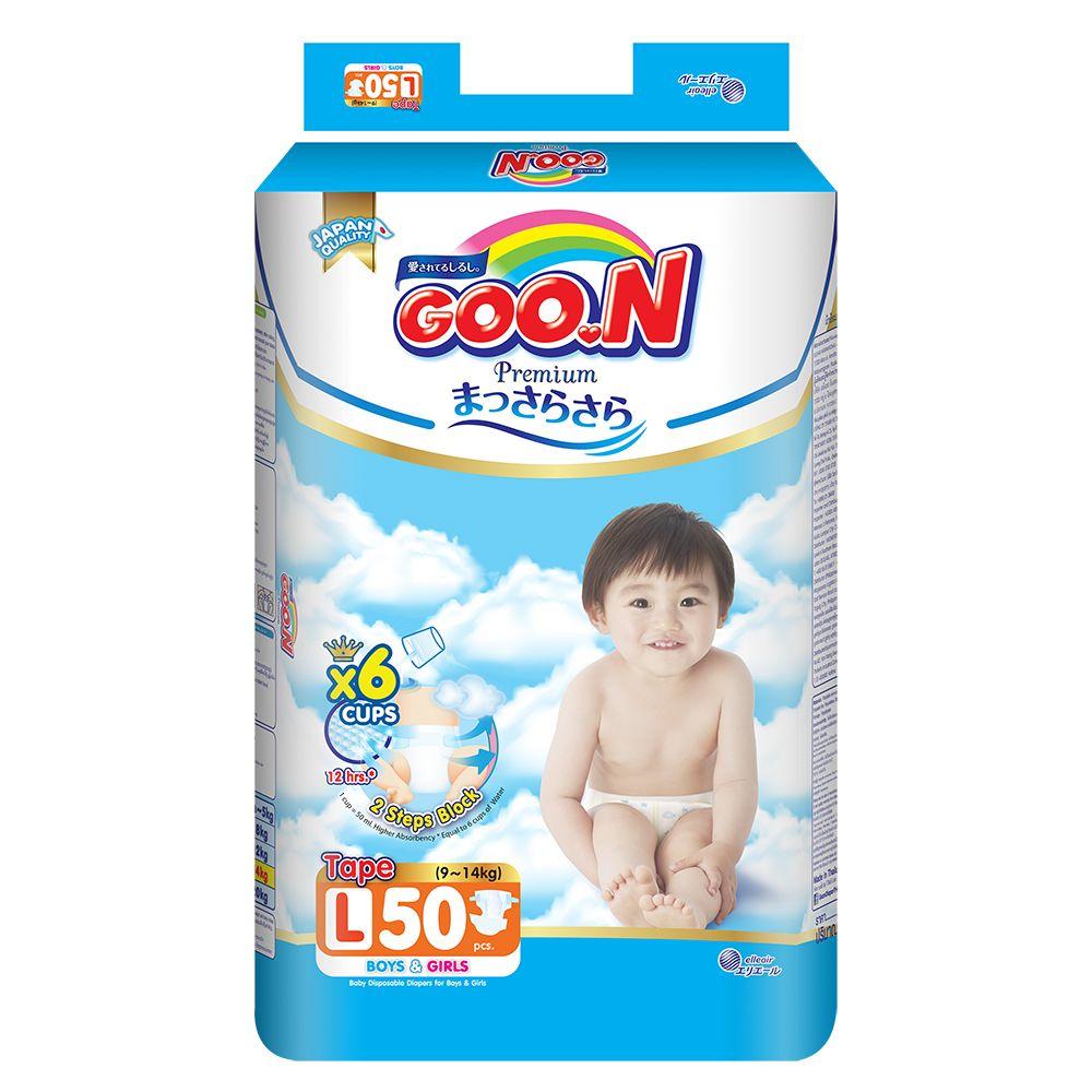 Bỉm - Tã dán Goon Premium size L - 50 miếng (Cho bé 9 - 14kg)