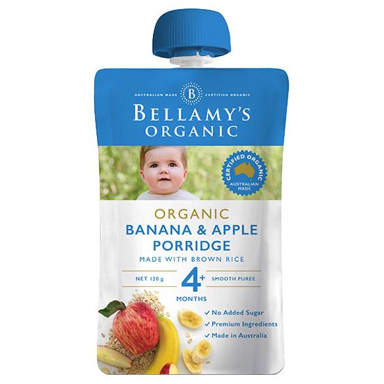 Trái cây xay nhuyễn Bellamy's Organic chuối, táo và yến mạch 120g (Trên 4 tháng)
