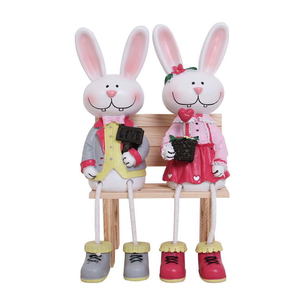 Bộ tượng đôi thỏ ngồi ôm hoa HD016B (Không gồm ghế)