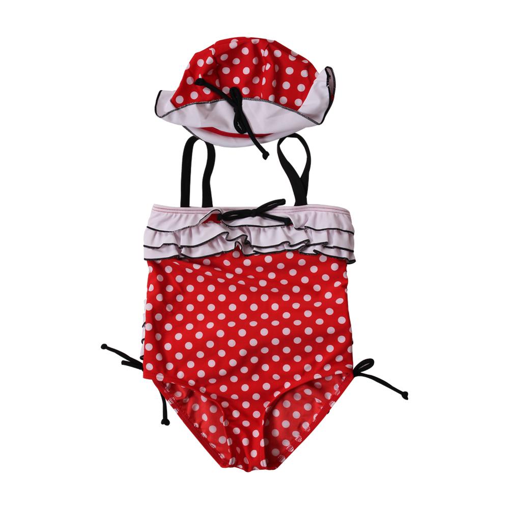 Bộ đồ bơi liền thân bé gái đỏ chấm bi 2 chi tiết