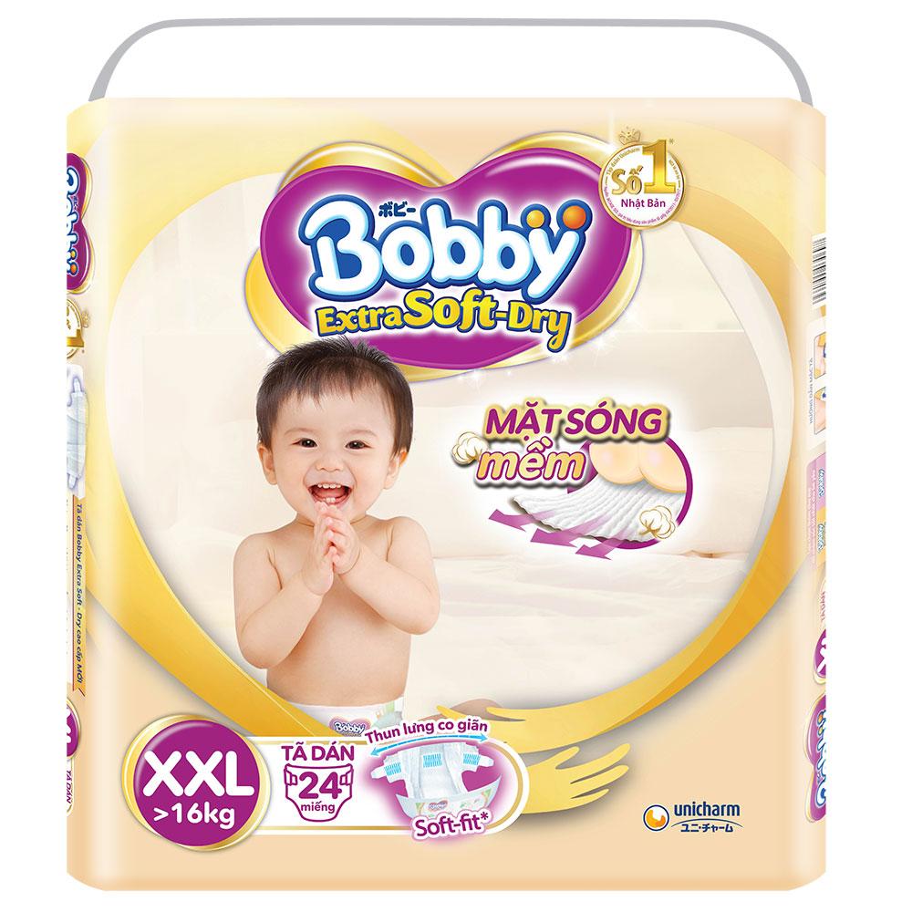 Bỉm - Tã dán Bobby Extra Soft - Dry cao cấp size XXL - 24 miếng (Cho bé trên 16kg)