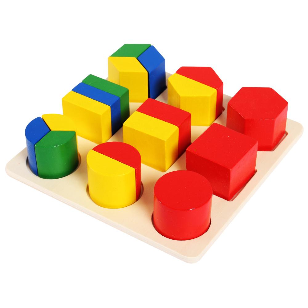 Đồ chơi bảng gỗ nhận dạng hình khối và phân số DS011