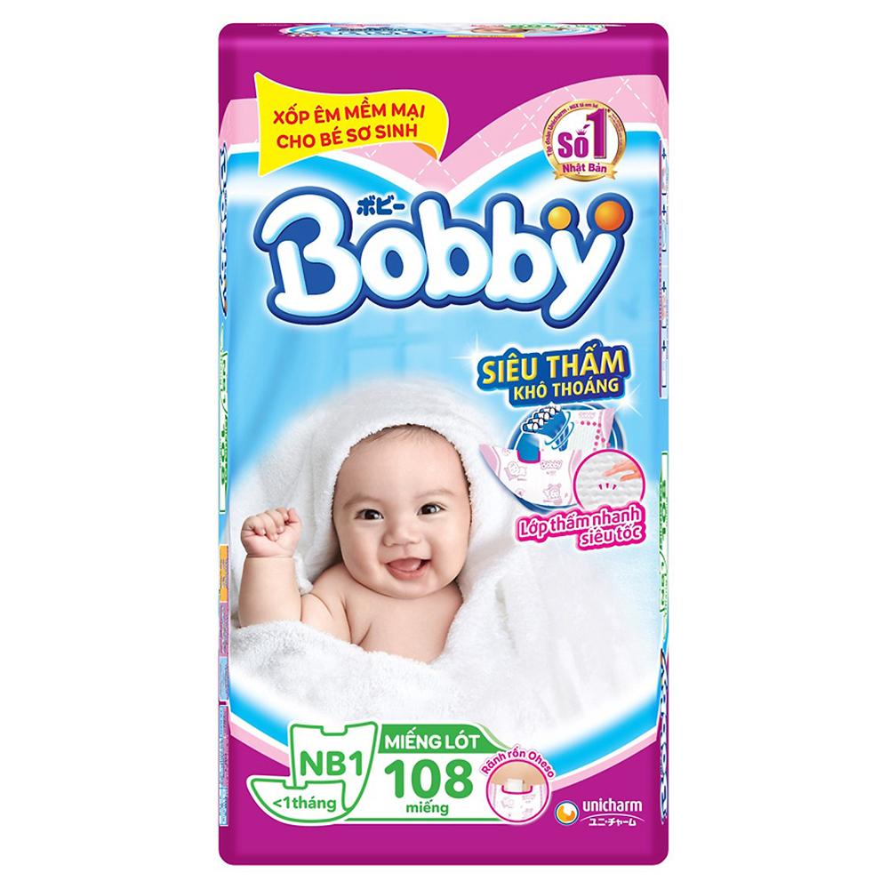 Miếng lót Bobby Newborn 1 - 108 miếng (Dưới 1 tháng tuổi)