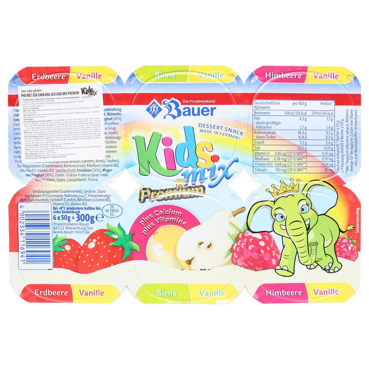 Phô mai sữa chua hoa quả Kids Mix Premium 50g (1 hộp)