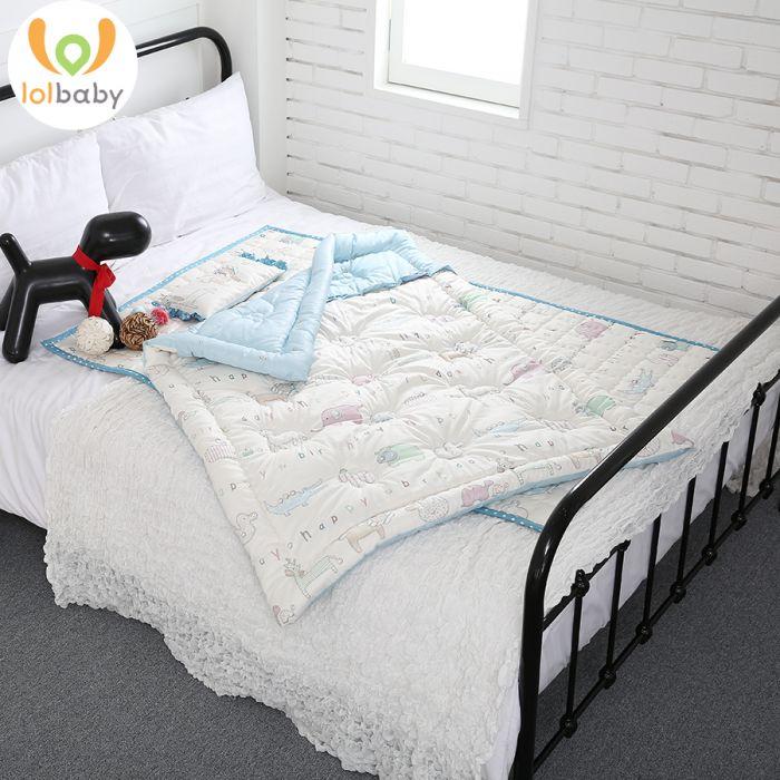 Set đệm ngủ cotton cỡ trung LOLBaby Maman Blue (1,1m x 1,4m)