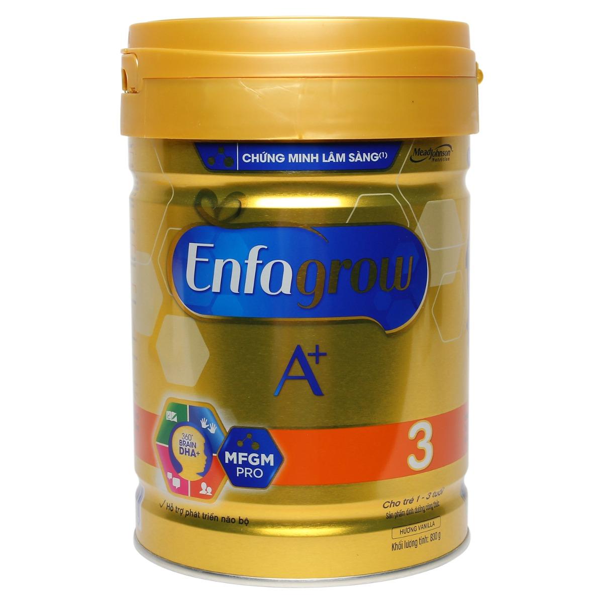 Sữa Enfagrow A+ 3 360 Brain DHA+ và MFGM Pro hương vani 830g (1 - 3 tuổi)