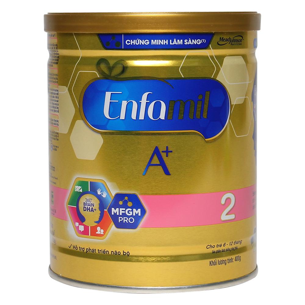 Sữa Enfamil A+ 2 360 Brain DHA+ và MFGM Pro 400g (6 - 12 tháng)