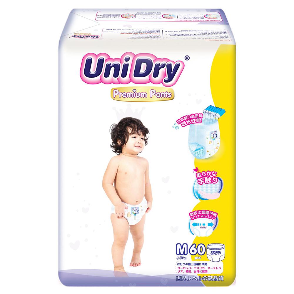 Bỉm - Tã quần UniDry Premium size M - 60 miếng (Cho bé 6 - 11kg)
