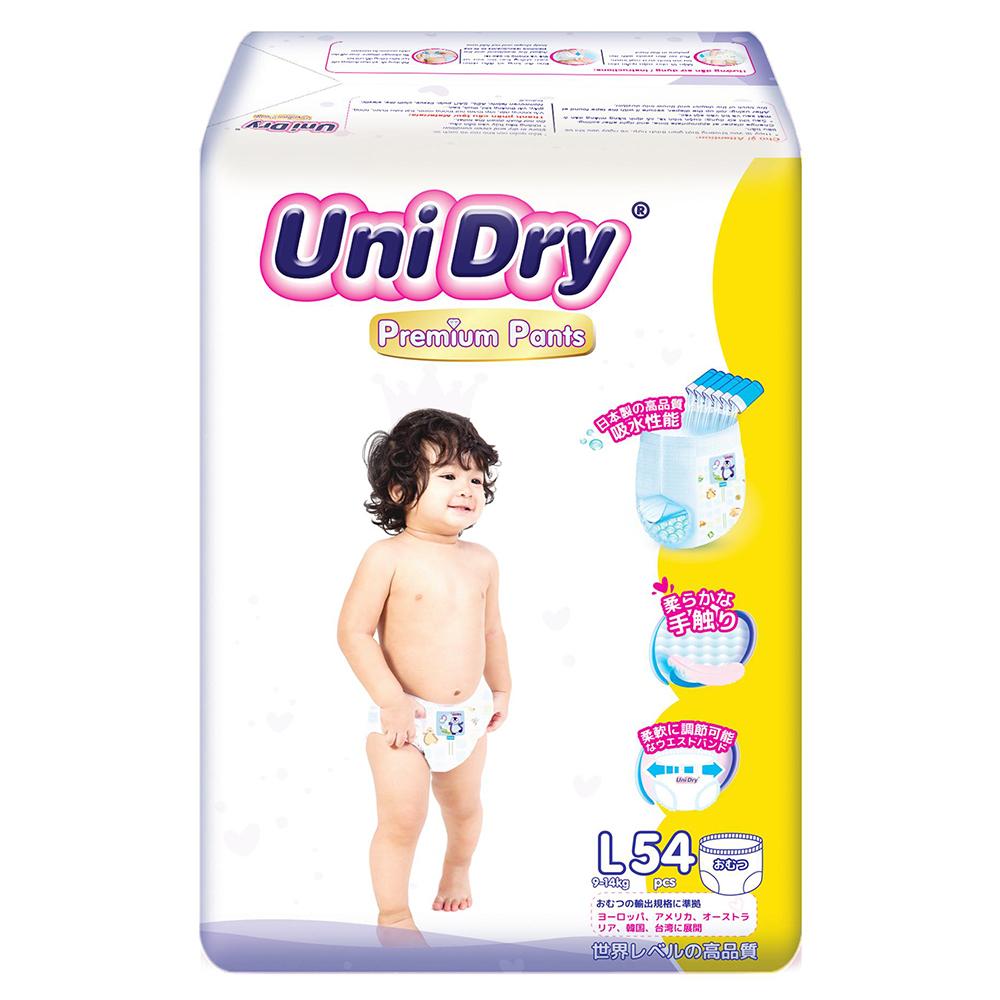 Bỉm - Tã quần UniDry Premium size L - 54 miếng (Cho bé 9 - 14kg)