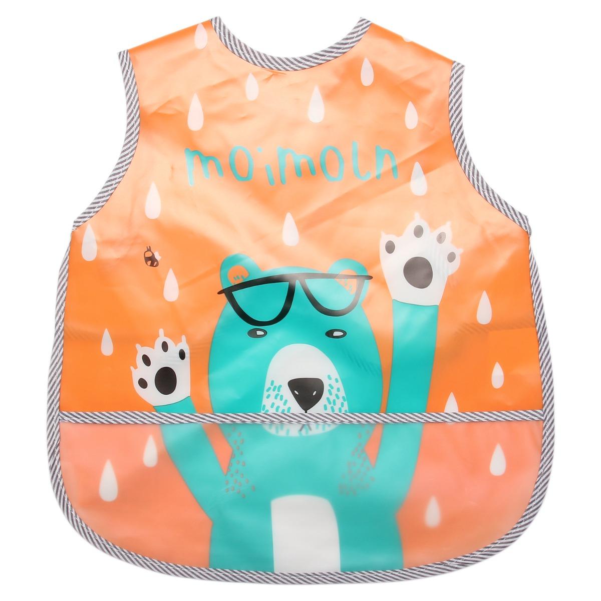 Yếm hứng nilon Moimoln gấu đeo kính cam