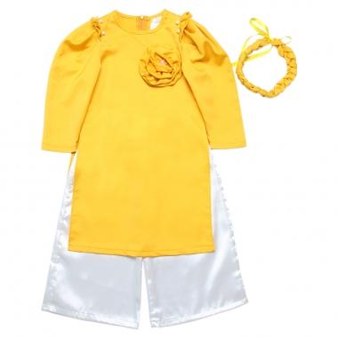 Bộ áo dài tay bồng kèm mấn vàng