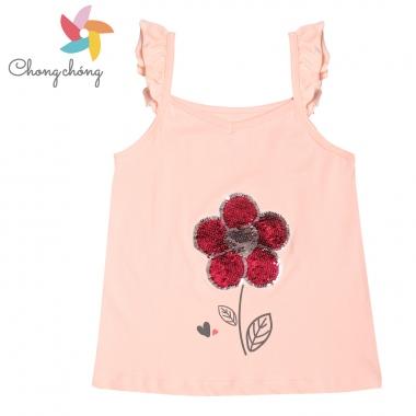Áo hai dây bé gái Chong Chóng cườm lật hoa hồng