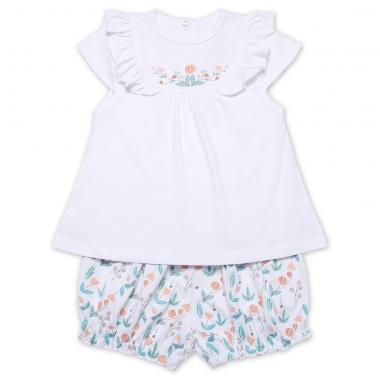 Bộ bé gái Chong Chóng áo chữ A quần đùi bồng in hoa dây