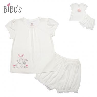 Bộ cài vai Bibos thêu thỏ Bunny