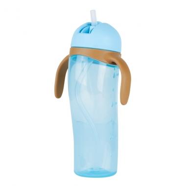 Bình uống nước tay cầm Pigeon có ống hút màu xanh dương 330ml (Trên 9 tháng)