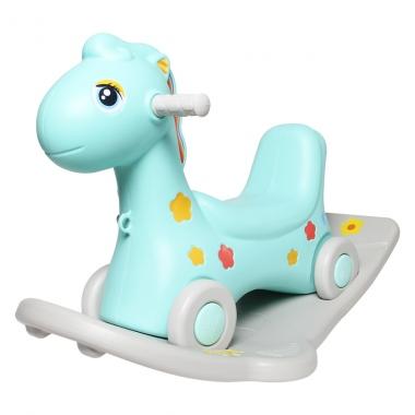Bập bênh kết hợp chòi chân 2 trong 1 hình ngựa DQ-YL435 màu xanh
