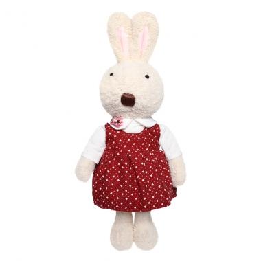 Thỏ bông Bunny mặc váy đỏ chấm hoa