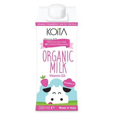 Sữa bò hữu cơ Koita ít béo vị dâu 200ml