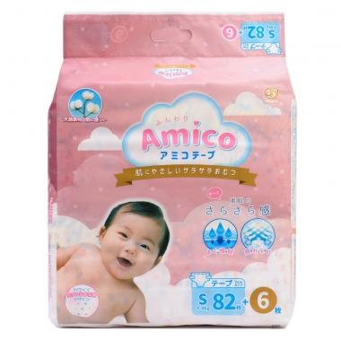 Bỉm - Tã dán Amico size S 82 + 6 miếng (Cho bé 4 - 8kg)